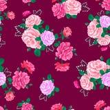 Rosa sem emenda bonito 7-01 do teste padrão de Rosa Foto de Stock
