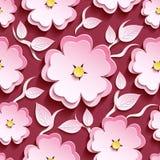 Rosa sem emenda floral 3d sakura do teste padrão e folhas Imagens de Stock