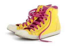 rosa shoelace shoes yellow Royaltyfri Bild