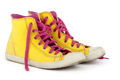 rosa shoelace shoes yellow Royaltyfria Bilder