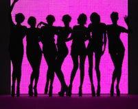 rosa silhouettekvinnor för bakgrund royaltyfri foto