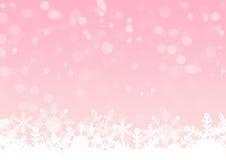 Rosa sken med snökristallbakgrund Arkivbilder
