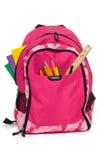 rosa skola för backback Royaltyfria Foton