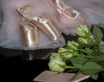 Rosa skor för satinebalettpointe och vita rosor Arkivbild