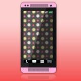 Rosa smartphone med den blom- tapeten Fotografering för Bildbyråer