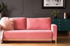 Rosa soffa med kuddar i grå vardagsruminre med affischen fotografering för bildbyråer