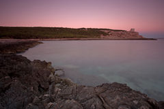 rosa solnedgång för apulia Arkivbilder