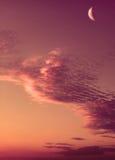 rosa solnedgång för moon Arkivfoto