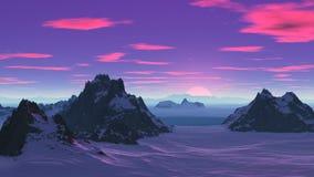 Rosa solnedgång i den snöig vildmarken vektor illustrationer