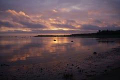 Rosa solnedgång och stormmoln Royaltyfri Bild