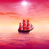 rosa soluppgång Ensamt seglingskepp royaltyfri illustrationer