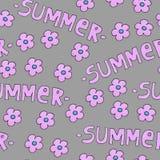 Rosa Sommermuster f?r Hintergrund oder Paket Jahreszeitkonzept mit Blumen stockbild