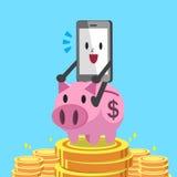 Rosa spargris för tecknad filmsmartphoneridning med pengarbakgrund Arkivfoto