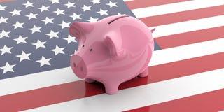 rosa spargris för tolkning 3d på USA flaggan Arkivbild