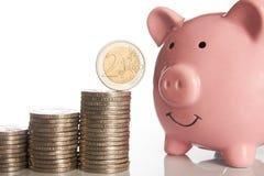 Rosa spargris och bunt av mynt som växer upp med myntet för euro två Royaltyfri Foto