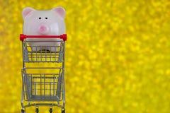 Rosa spargrissvinanseende på den mini- shoppingpushvagnen på blurr Arkivbild
