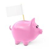 Rosa Sparschwein-Art-Geld-Kasten mit leerer Flagge für Ihren Text 3 vektor abbildung