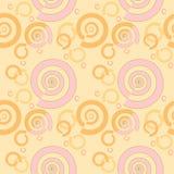 Rosa a spirale senza cuciture del modello giallo arancione su colore della pesca Fotografie Stock