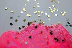 Rosa Spitzeabschluß oben Stockbild