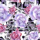 Rosa stieg Botanische mit Blumenblume Nahtloses Hintergrundmuster stock abbildung