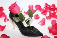 Rosa stieg in einen weiblichen Schuh Schwarze Schuhe mit hohen Absätzen stockfoto