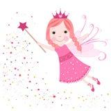 Rosa stjärnor för gullig saga som skiner Arkivbild