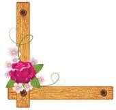 Rosa su un angolo di legno Fotografie Stock Libere da Diritti