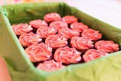 Rosa Sugar Coated Cup Cakes i grön korg och suddiga Backgrou Arkivbild