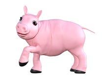 Rosa svin på vit Arkivfoto