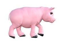 Rosa svin på vit Arkivbild