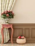 Rosa tabell med blommor royaltyfri illustrationer