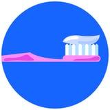 Rosa tandborste med tanddeg för den personliga muntliga omsorgillustrationen i plan stil Arkivfoton