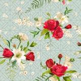 Rosa tappning och Lily Flowers Background Fjädra, och den seamless sommaren mönstrar royaltyfri illustrationer