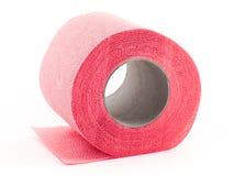 rosa toalettrulle som isoleras på vit Royaltyfria Bilder