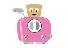 Rosa Toaster, mit Scheibe des Lächelns, schüchternes Brot Stockbilder