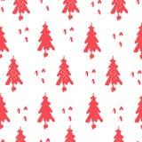 Rosa träd för handattraktion på vit bakgrund stock illustrationer