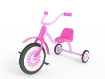 Rosa trehjuling   Arkivbild