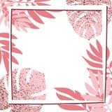 Rosa tropiska sidor med ramen Royaltyfri Foto