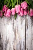 Rosa tulpan över trä bordlägger arkivbilder