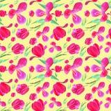 Rosa tulpan med sidor seamless modell Textur f?r trycket, tyg, textil, tapet Utdragen vattenf?rgillustration f?r hand p? royaltyfri illustrationer