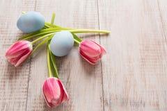 Rosa tulpan och blåa påskägg från över Arkivbilder