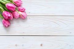 rosa tulpanblomma på wood bakgrund arkivfoto