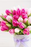 Rosa Tulpe auf dem weißen Hintergrund Rote Tulpe und farbige Eier lizenzfreie stockfotos