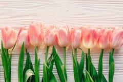Rosa Tulpen auf weißem rustikalem hölzernem Hintergrund Draufsicht O des Frühlinges Lizenzfreies Stockbild