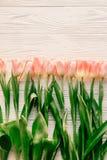 rosa Tulpen auf weißer rustikaler hölzerner Hintergrundebenenlage Frühling t Stockfoto