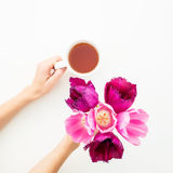 Rosa Tulpen und Teebecher lokalisiert auf weißem Hintergrund Ausführliche vektorzeichnung Flache Lage Beschneidungspfad eingeschl Stockfotografie