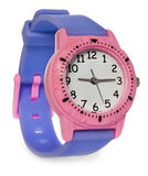 Rosa Uhr mit einem purpurroten Streifen Armbanduhr auf einem weißen Hintergrund Stockfoto