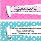 Rosa und blaue horizontale Fahnen mit heftigen Streifen des gerollten Papiers Zerrissene Valentinsgrußtagesvektorrahmen Lizenzfreie Stockbilder