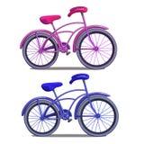 Rosa und blaues Fahrrad lokalisiert auf weißem Hintergrund Vektor in der Karikaturart Stockfoto