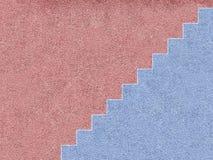 Rosa und blaues Haus mit Treppe lizenzfreie abbildung